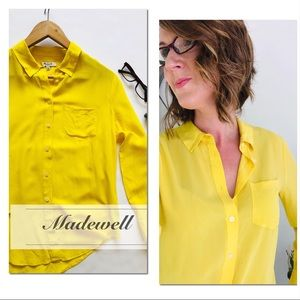 Madewell 100% Silk Yellow Button Down Top